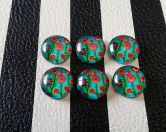 12mm Floral Garden Glass Cabochon