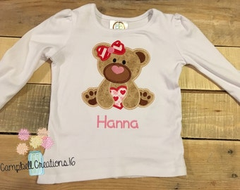 Valentine Shirts For Girls - Girl Valentine Shirt - Valentines Day Shirt - Valentine Bear Shirt for Girl - Valentine Bear Shirt