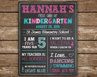 First Day of School Sign, First Day of Kindergarten Chalkboard Sign, Printable Back to School Photo Prop, First Grade, Custom Colors