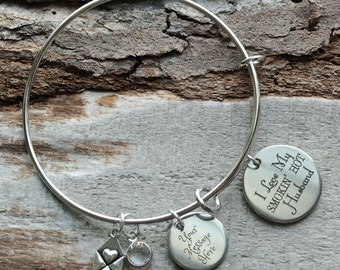 I Love My Smokin Hot Husband Wire Adjustable Bangle Bracelet