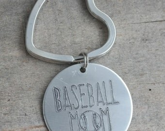 Baseball Mom Personalized Key Chain - Engraved
