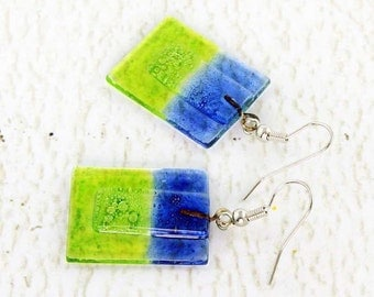 Cool Earrings - Statement Earrings - Stained Glass Earrings - Dark Blue Earrings - Square Earrings - Fused Glass Jewelry 3390
