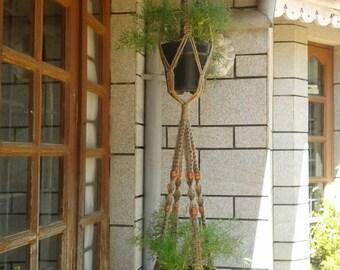 Free shipping -  jute macrame plant hanger /double plant  / pot holder / hanging planter indoor / outdoor,bird feeder,5ply jute plant hanger