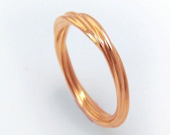 14k Rose Gold Rope Ring, Rose Gold Twist Ring, Twisted Wedding Band, Twist Ring, Twisted Ring, Twisted Band, Twisted Wedding Ring