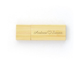 Valentine's day gifts-8Gb Wooden Usb,Engraved Usb Flash Drive,Personalized Usb Drive with Box,Couple Wedding Memories ,4Gb Usb Flash Drive