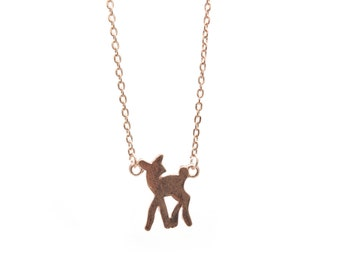Rose gold Bambi necklace