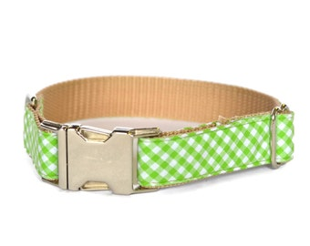 Green Gingham Dog Collar, Southern Dog Collar, Check Dog Collar, Green Check Collar, Gift For Dog, Green Gingham Collar, With Metal Buckle