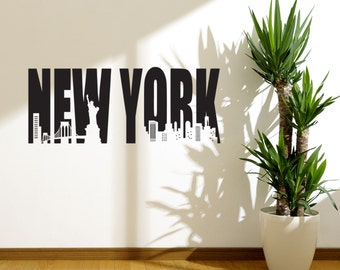 New York Skyline Easy Instant Modern Home Decor Wall Sticker Decal Removable