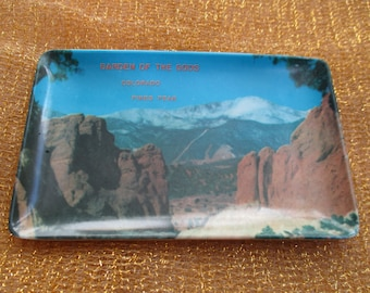 Garden of the Gods / Pikes Peak Colorado Melamine Tray Colorado Springs Souvenir Tray Melamine Melamaster made in Italy by Enco Inc Pin Tray