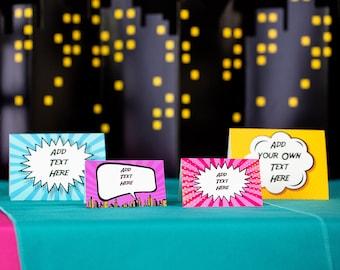 Pink Superhero Party Food Labels - Girls Superhero Buffet Signs - Pink Superhero Food Labels by Printable Studio
