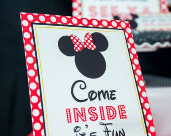 Come Inside it's Fun Inside Sign - Instant Download Minnie Mouse Party Sign - - Printable Red Minnie Mouse Sign by Printable Studio