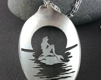 Mermaid Tail, Mermaid Spoon Necklace, Sea Jewelry, Silverware Spoon Pendant, Mermaid Charm, Handmade Spoon Jewelry, Mermaid Jewelry, Disney