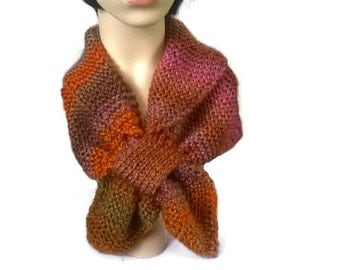 Autumn colours Winter knitted Keyhole scarf, Neck warmer, Scarflette womens scarves, stay put scarves, knitted scarf, Christmas gift