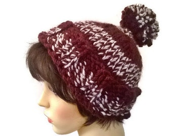 Brown Bobble hat, ski hat, woolly hat, knitted chunky knit hat, pompom hat, pom pom beanie, wool beanie, pom pom hat, winter hat, wool beany
