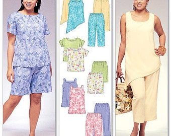 McCall's Pattern M4097 Women's Side-Slit Top, Tunics, Shorts and Capri Pants