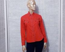 Western shirt, cowgirl rodeo shirt, americana ranch rockabilly shirt, black snaps shirt, red top, red blouse, preppy shirt, red shirt