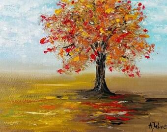 Tree art Tree décor Tree print Autumn yellow orange red Fine art print Autumn tree Nature art Tree fine art Landscape art Modern art print