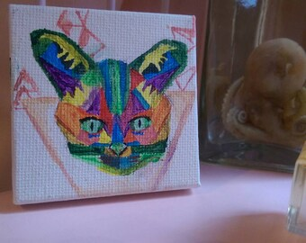 Geometric cat acrylic painting on mini canvas