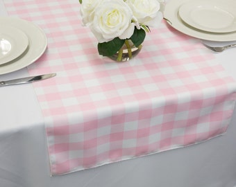 Beautiful Pink And White Gingham Table Runner | Wedding Table Runners