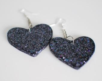 Sparkly Black Heart Earrings