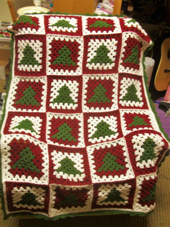 Free Crochet Granny Square Christmas Tree Pattern : CROCHET PATTERN Christmas Tree Granny Square Afghan