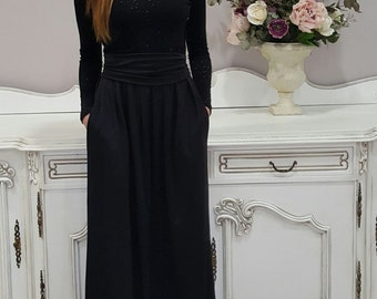 Black Glossy Top Maxi Women's Dress Long Sleeves Pockets