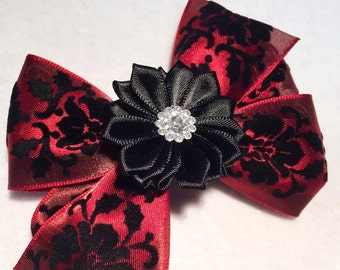 """Red Satin and Black Velvet Flower Hair Bow - 4"""" Deep Red Burgundy Black Hair Bow on French Barrette Clip - Women, Teenagers Formal Events"""