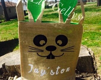 Gift for kids,easter bunny,easter gift,easter decor,easter basket,personalized easter basket,easter bucket,burlap easter basket,bunny ears