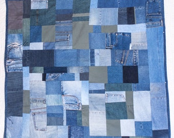 Custom Handmade Recycled Denim Throw Quilt, 100% Recycled and Special