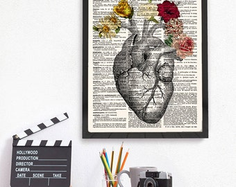 Heart Anatomy, Heart Flowers Print, Anatomical Heart, Flowers Decor, Heart Dictionary Art, Kitchen Decor, Wall Art Print, Anatomy Art, 204