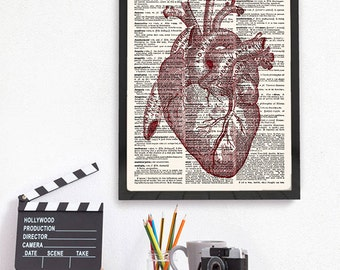 Heart Anatomy Poster,  Human Heart Anatomy Print, Science Poster, Anatomical Print,