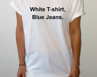 Blue jeans white t shirt chords