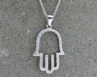 Silver and CZ Hamsa Hand Charm Necklace