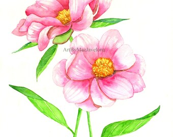 "Print of my Original Watercolor Painting ""Pink Firelight Peonies"", 8X10"