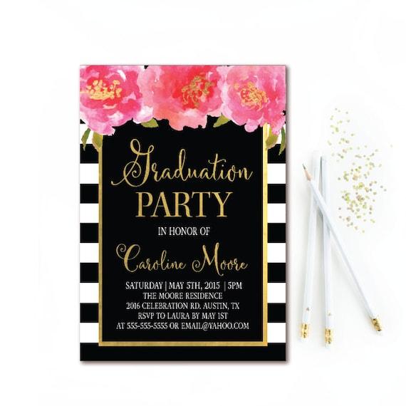 Black white stripe graduation invitation floral graduation party il570xn filmwisefo