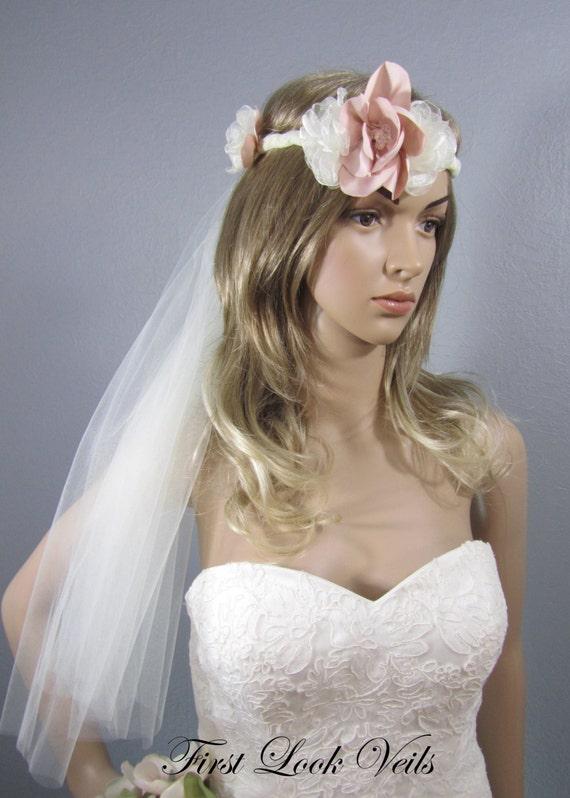 Boho Wedding Veil, Pink Flower Bridal Veil, Wedding Veil, Ivory Tie Veil, Bohemian Veil, Flowing Tulle Tie Veil, Bride, Bridal Accessory
