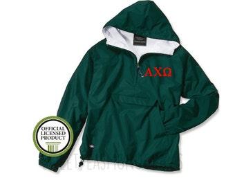 Alpha Chi Omega Pullover, Monogram Wind Breaker Pullover, Rain Jacket Pullover, Charles River Pullover, Sorority Gift, Alpha Chi