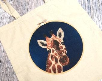 Giraffe Tote Bag, Giraffe Gift, Cotton Tote Bag, Giraffe Bag, Shopping Bag, Tote Bag for Sale, Gift for Teacher, Tote Bag Canvas