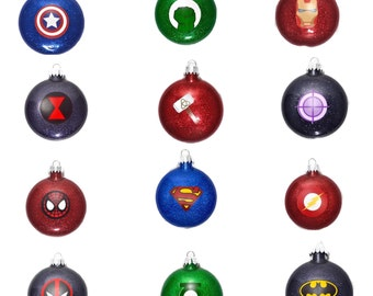 Super Hero Ornaments - Super Hero Glitter Ornaments - Avengers Ornaments - Marvel Comics Ornaments - DC Comics Ornaments - Super Hero Gifts