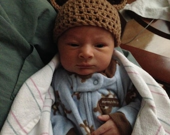 Crochet Newborn Bear Hat. Great photo prop.