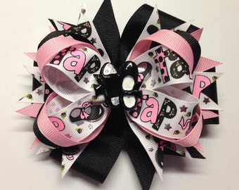 """Tap Dance Metallic Glitter 5"""" Over the Top Layered Boutique Hair Bow Alligator Clip"""