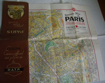 Map of Paris - Map Taride - directory of streets in Paris - 1972 districts map