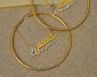 Name hoop earrings, name earring,Hoop earring, Gold fill and silver name earring,Popular hoop gold earring.