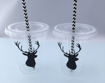 Stag Head Cups with Lids and Straws, Plastic Deer Head with Antlers Party Drink Cups