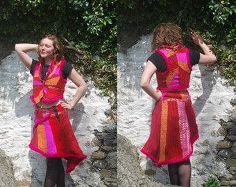 Waistcoat & Skirt Set in Bright, Warm Patchwork