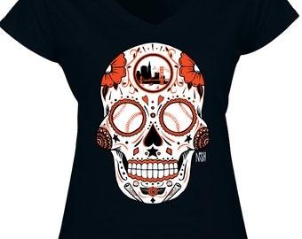 San Francisco Giants Sugar Skull - Black VNeck