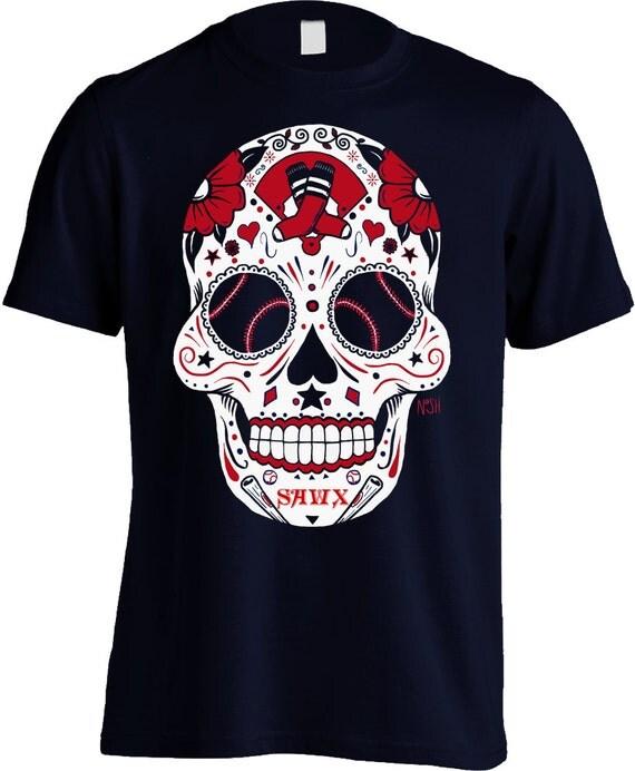 Boston Baseball Sugar Skull Mens Shirt My Sugar Skulls