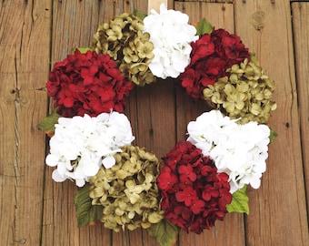 Christmas Wreath, Christmas Door Wreath, Holiday Wreath, Hydrangea Wreath, Holiday Door Wreath, Holiday Decor, Rustic Christmas Wreath