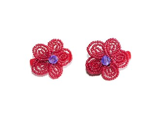 2pc Beaded Flower Hair Clips on French Barrette. Hot Pink Purple Hair Clip Accessories for Girl Teen Gift Idea Stocking Stuffer Cute Flowers