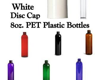 8oz. Boston Round Plastic Lotion Bottles ~ WHITE DISC CAP ~ Soap Bottles/Shampoo Bottles/Conditioner Bottles ~ Bottle Color Your Choice